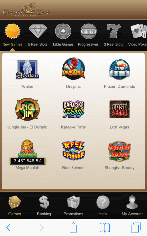 You can access Captaian Cooks Casino on your mobile through the web browser