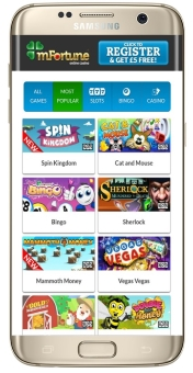 Over 40 games are available for mobile gaming at mFortune Casino